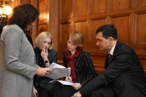 Олена Зеркаль і група українських дипломатів за роботою
