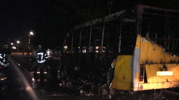 Под Киевом дотла сгорела маршрутка, фото