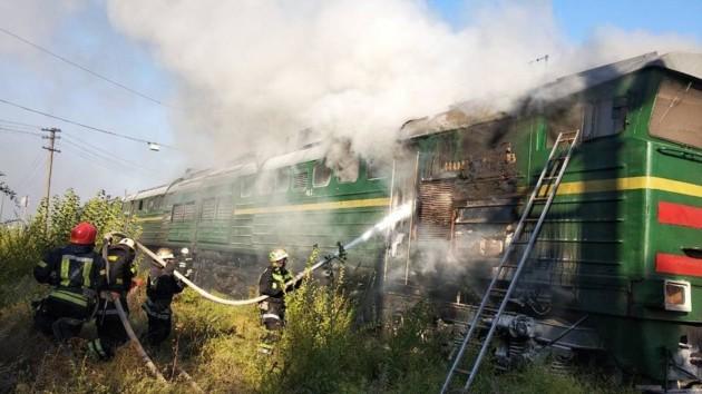 На вокзале в Николаеве загорелся локомотив