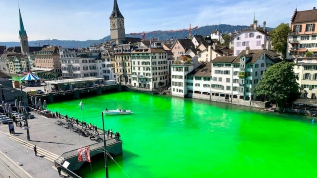 """Парад фотожаб: в сети высмеяли """"зеленую"""" реку в Цюрихе"""