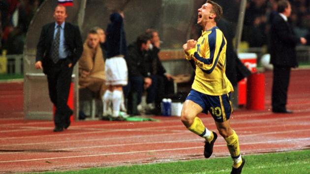 Шева после гола Филимонову. 1999 год