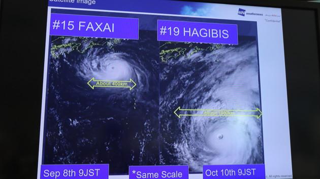 """Тайфун """"Хагибис"""" надвигается на Японию"""