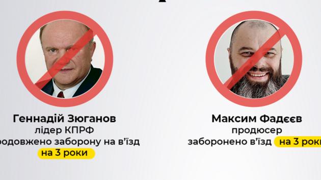 СБУ запретила въезд в Украину Фадееву и Зюганову еще на три года
