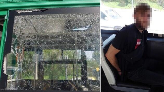 Бросил камень в троллейбус и ранил женщину: новые подробности ЧП в Киеве