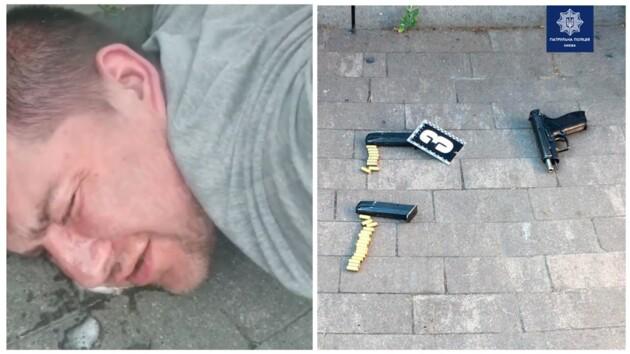 На Подоле двое мужчин устроили стрельбу, копы применили силу: видео