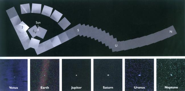 """Полная картина """"семейного портрета Солнечной системы"""" из 60 фотографий, снятых """"Вояджером-1"""" в 1990 году"""