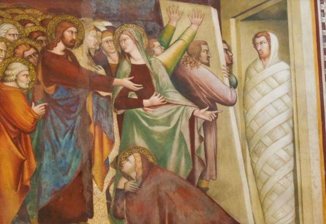 Воскрешение Лазаря, фреска