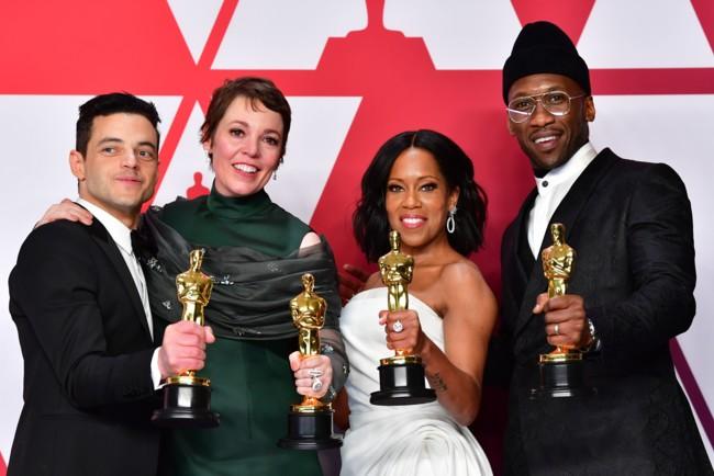 Лауреаты премии Оскар: Рами Малек, Оливия Колман, Реджина Кинг, Махершала Али