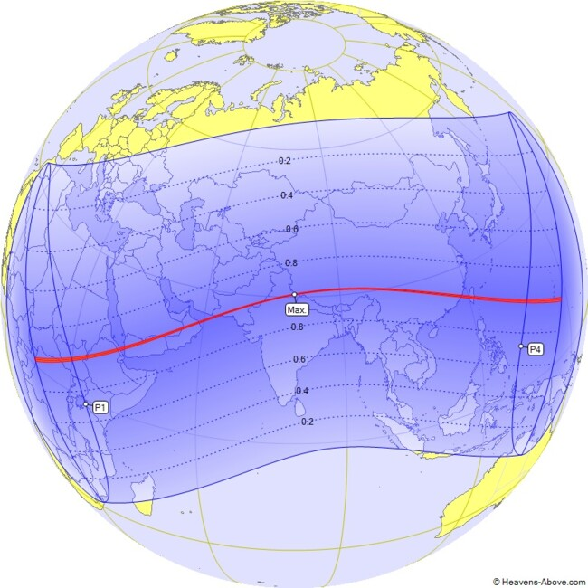 Траектория солнечного затмения 21 июня