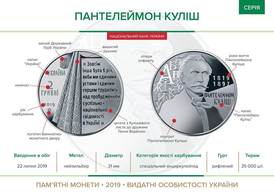 """Памятная монета """"Пантелеймон Кулиш"""". Данные: НБУ / Facebook"""
