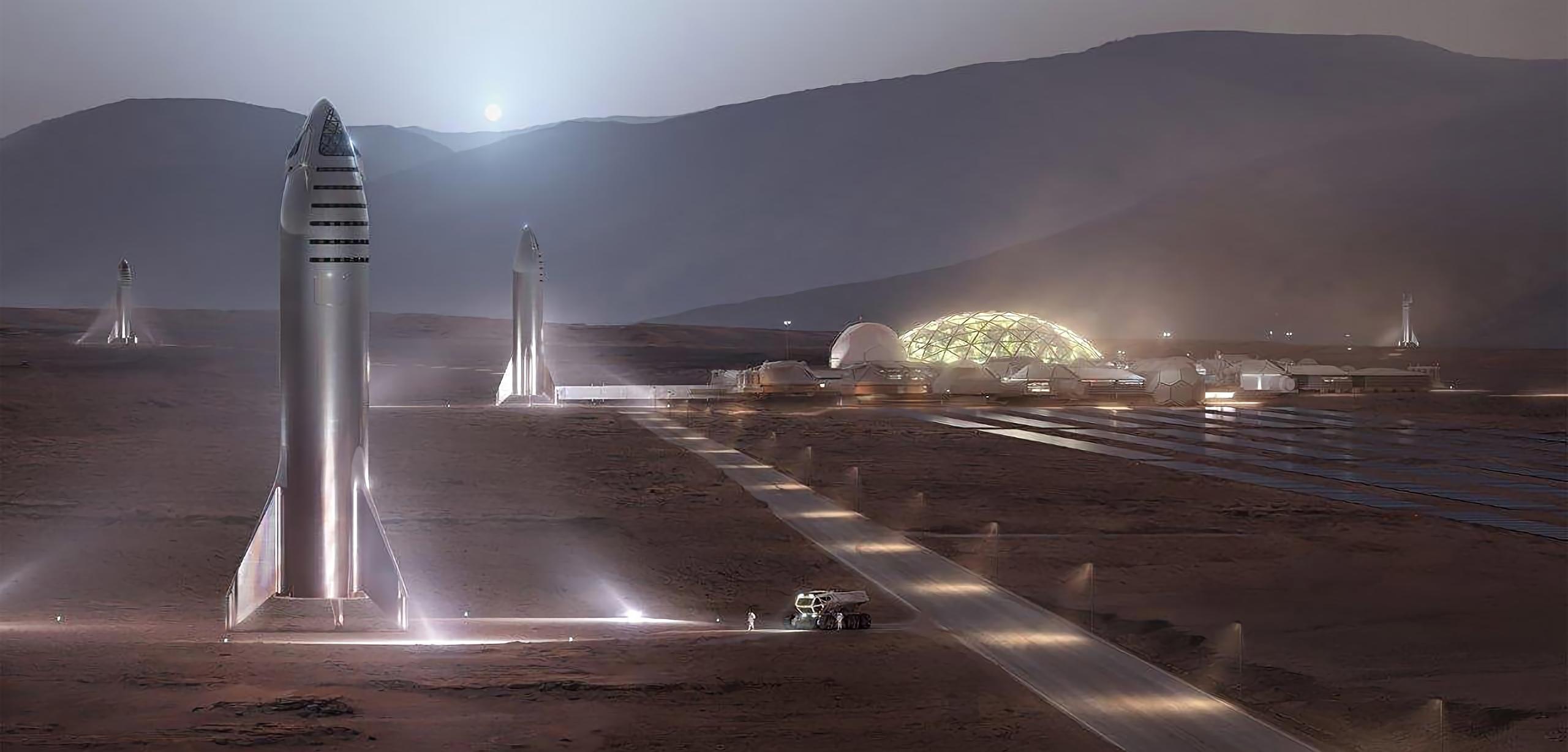 Иллюстрация покорения Марса кораблями Starship