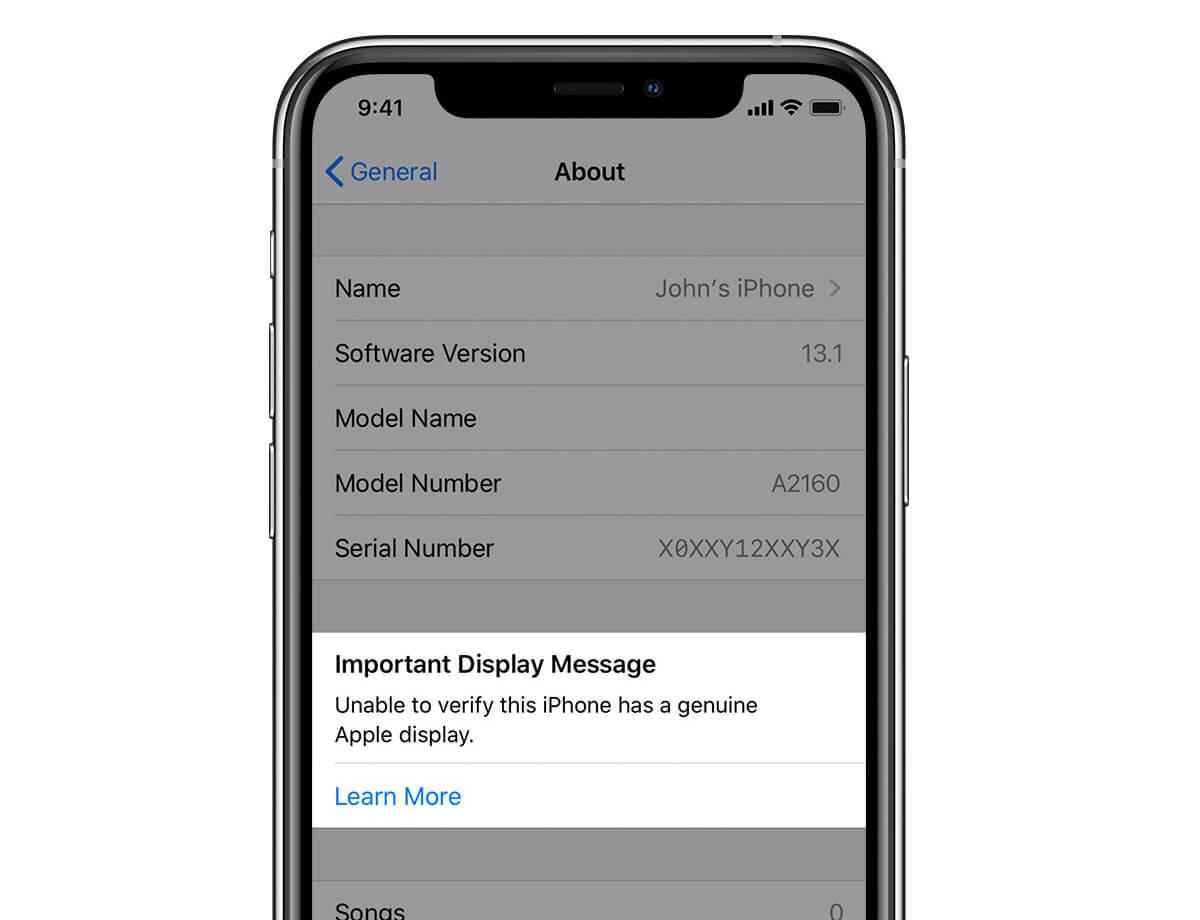 Предупреждение, которое получит пользователь при  установке неоригинального экрана на iPhone 11