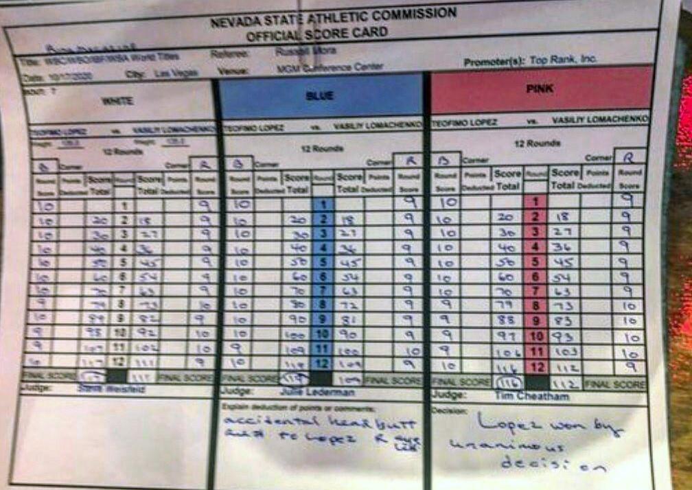 Главный судья бокса в Украине оценил результаты боя Ломаченко-Лопес