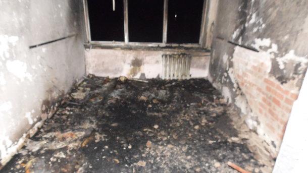 Обгоріла кімната в інтернаті. Фото: ДСНС