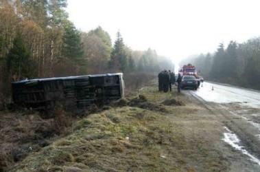 Микроавтобус съехал в кювет и опрокинулся,фото media.meta.ua