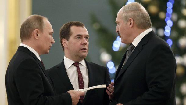 Владимир Путин, Дмитрий Медведв и Александр Лукашенко. Фото: AFP