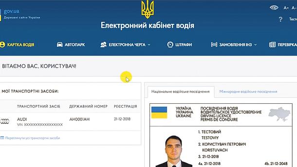 Е-кабинет. Так выглядит личная страничка зарегистрированного пользователя услуги. Фото: главный сервисный центр МВД Украины