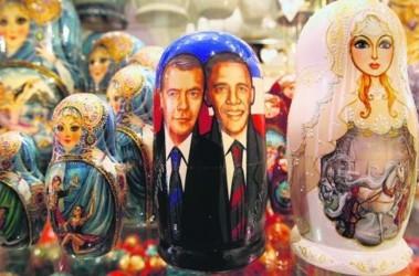Москва. Подготовились к приезду — появились матрешки с Обамой. Фото АFP