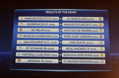 Результаты жеребьевки Лиги чемпионов. Фото AFP