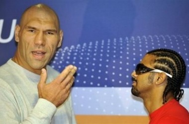 WBA heavyweight world boxing champion Nikolai Valuev, left, from Russia, and challenger David Haye, right, from Great Britain pose during a press conference in Nuremberg, southern Germany on Tuesday, Sept. 22, 2009. Their fight in Nuremberg is scheduled f