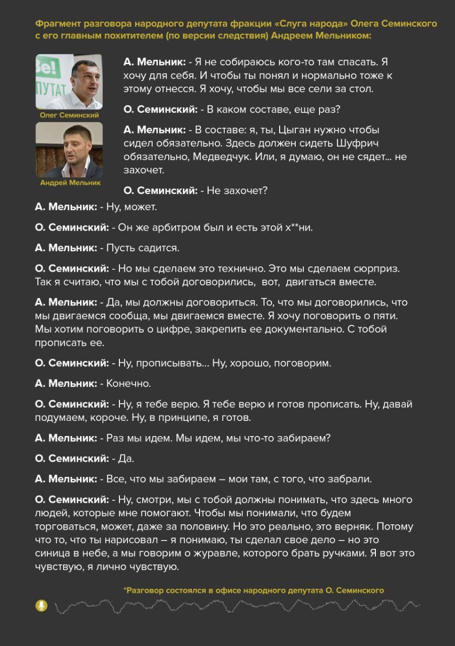 """""""Здесь должен сидеть Шуфрич и Медведчук"""", – криминальный авторитет Мельник – """"слуге народа"""" Семинскому"""