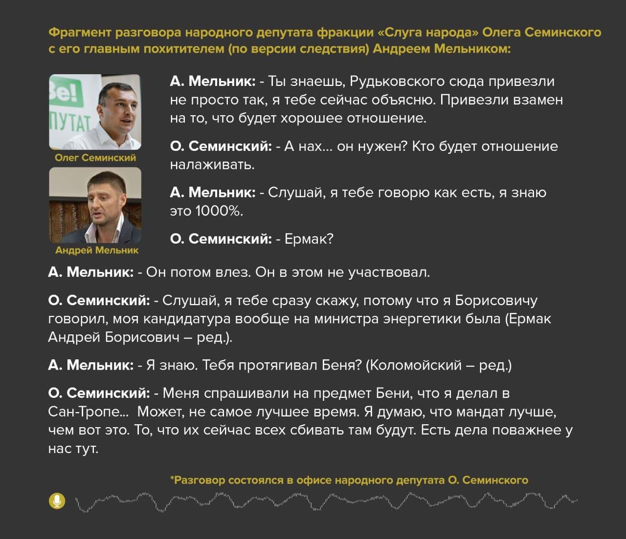 """""""У нас есть дела поважнее"""", – """"слуга народа"""" Семинский объяснил подозреваемому в своем похищении Мельнику, почему не хочет быть министром"""